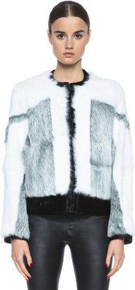 Helmut Lang Facet Fur Bomber in Nature Multi