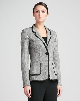 St. John Prince of Wales Plaid Knit Blazer with Pockets & Leather Accents