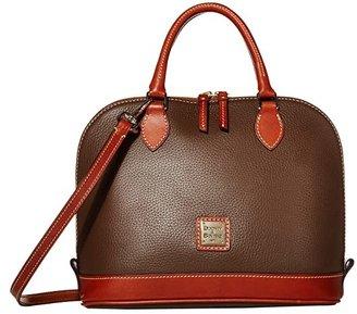 Dooney & Bourke Pebble Zip Zip Satchel (Caramel w/ Tan Trim) Satchel Handbags