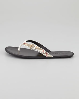 Burberry Check Leather Flip-Flop, White