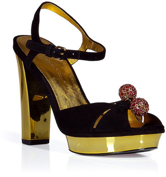 Marc by Marc Jacobs Black and gold suede platform sandals