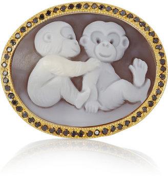 Amedeo Gold-plated, sardonyx shell and diamond monkey cameo ring
