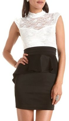 Charlotte Russe Mock Neck Lace 2-Fer Dress