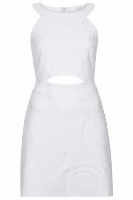 Topshop Woven textured dress cut in an a-line silhouette with cut-away style bodice and cut-out panel to stomach. features back zip fastening. team it with super high heels