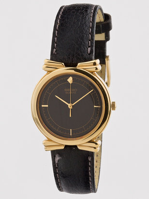 Seiko Vintage Black/Gold Leather Band Watch