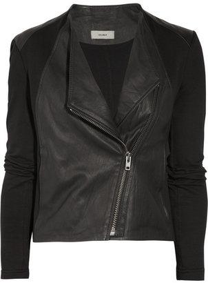 Helmut Lang HELMUT Washed-leather and cotton-jersey biker jacket