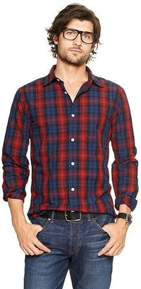 Gap Lived-in wash multi-color plaid shirt