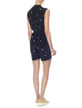 Sophie Hulme Navy Polka Silk Workwear Playsuit