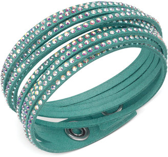 Swarovski Silver-Tone Emerald Fabric Crystal Stud Wrap Bracelet