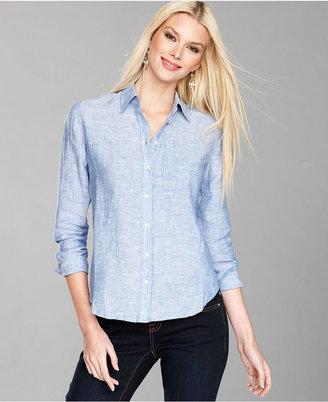 INC International Concepts Petite Top, Long-Sleeve Linen Shirt