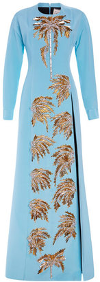 Fausto Puglisi Embroidered Long Cady Dress With Double Slit