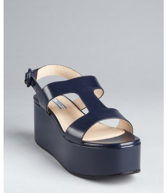 Prada baltic blue leather flatform sandals