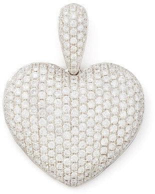 NM Diamond 18k White Gold Pave Diamond Heart Pendant