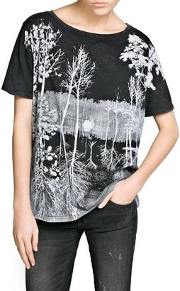 MANGO Outlet Faded Forest Cotton T-Shirt