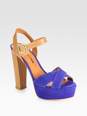 Pour La Victoire Neysa Suede and Leather Colorblock Platform Sandals