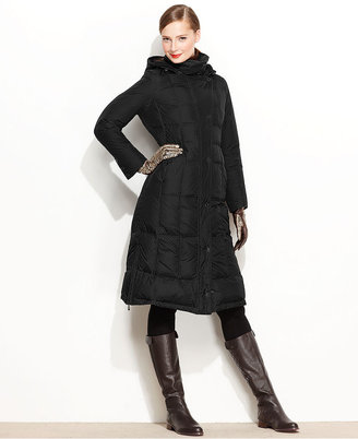 Larry Levine Coat, Hooded Maxi Quilted Puffer