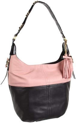 Nanette Lepore Leather Block Nappa Medium Hobo (Black/Pink Multi) - Bags and Luggage