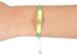 Singer22 Devora Libin Jewels Rubber Skull Bracelet in Green/Fluorescent Yellow