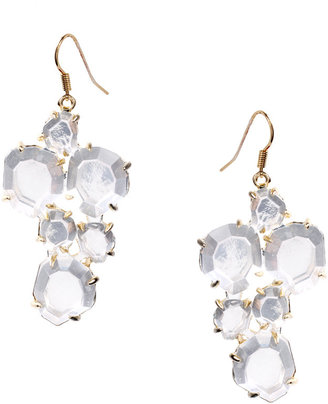 Landver 18ct Gold Plated Clear Rock Crystals Cluster Earrings (+)