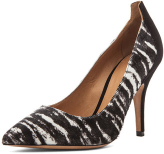 Isabel Marant Pippa Calf Hair Simple Pony Pumps in Anthracite
