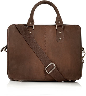 Topman Brown Leather Laptop Bag