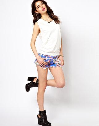 Reverse Denim Shorts In Floral Print