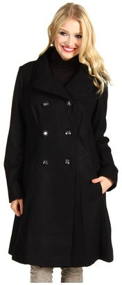 Jessica Simpson Melton Wool Double Pleated Stand Collar Coat (Black) - Apparel