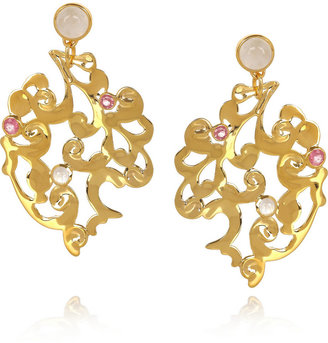 Monica Vinader Lace gold-plated, quartz and moonstone earrings