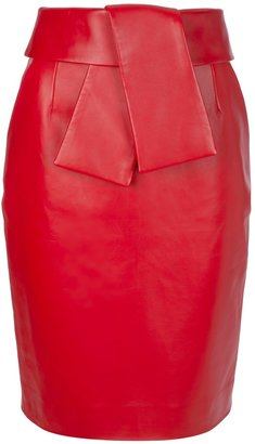 Balenciaga leather pencil skirt