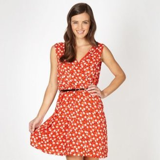 Red Herring Red floral belted dress