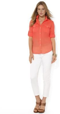 Lauren Ralph Lauren Roll-Sleeve Cotton Workshirt