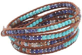 Chan Luu 32 Turquoise Fire Agate Mix/Natural Brown Bracelet (Turquoise Fire Agate Mix) - Jewelry