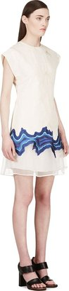 3.1 Phillip Lim Cream Jacquard Embroidered Geode Flounce Dress