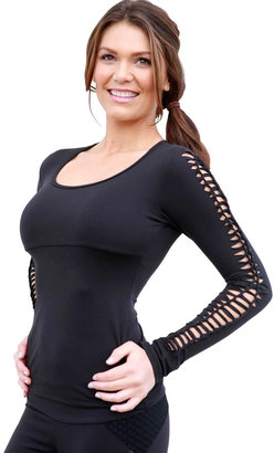 Body Angel Activewear Shredded Long Sleeve Top