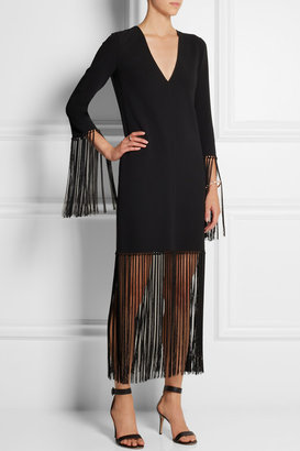 Michael Kors Fringed stretch-wool crepe dress