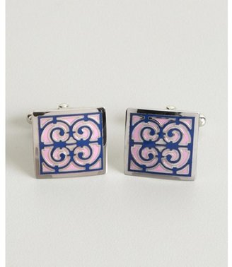 David Donahue lilac enameled sterling silver 'Hermes' square cufflinks