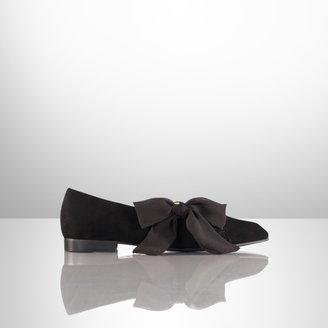Ralph Lauren Frida Silk-Bow Suede Flat