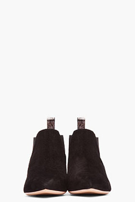 Marc Jacobs Black Suede Metallic Heel Chelsea Boots