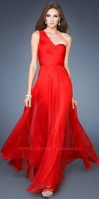 La Femme Asymmetrical One Shoulder Sheer Back Prom Dresses