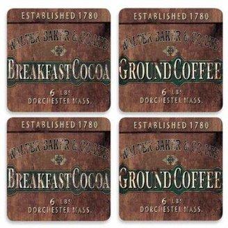 Design House LA Breakfast Cocoa Hardboard Cork-Backed Coasters (Set of 4)