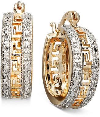"Townsend Victoria 18k Gold over Sterling Silver Earrings, 1"" Diamond Accent Greek Key Hoop Earrings"