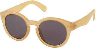 Topshop Yellow Curved Flat Top Sunglasses