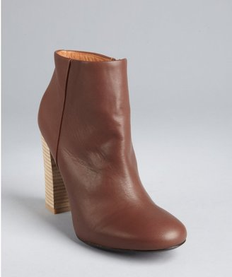Joie espresso leather stacked heel 'Bright Fire' ankle boots