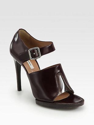 Carven Leather Ankle Strap Platform Sandals