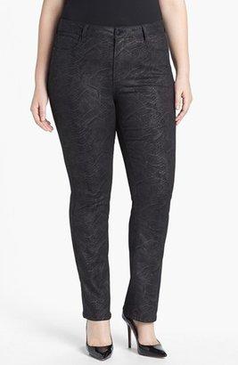 NYDJ 'Marilyn' Python Print Stretch Straight Leg Jeans (Plus Size)