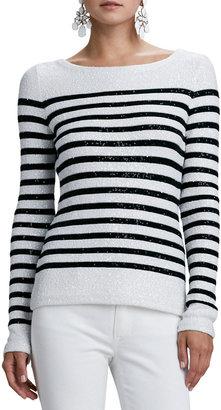 Oscar de la Renta Striped Sequined Long-Sleeve Sweater