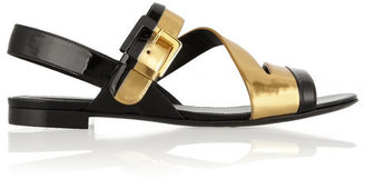 Sergio Rossi Two-tone patent and mirrored-leather sandals