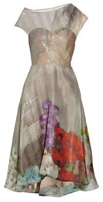 Lela Rose Floral-print silk-blend organza dress