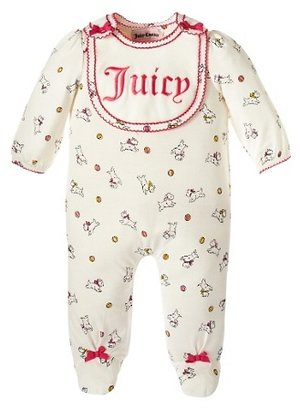 Juicy Couture Dog Print One Piece With Bib Set