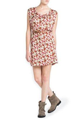 MANGO Floral Print Satin Dress